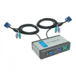 DATA SWITCH KVM 2X1 D-LINK MON+TEC+RAT IN. CABLES - Imagen 1